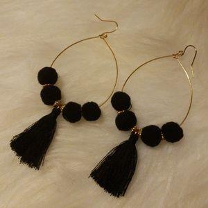 Black Pom and Tassel earrings